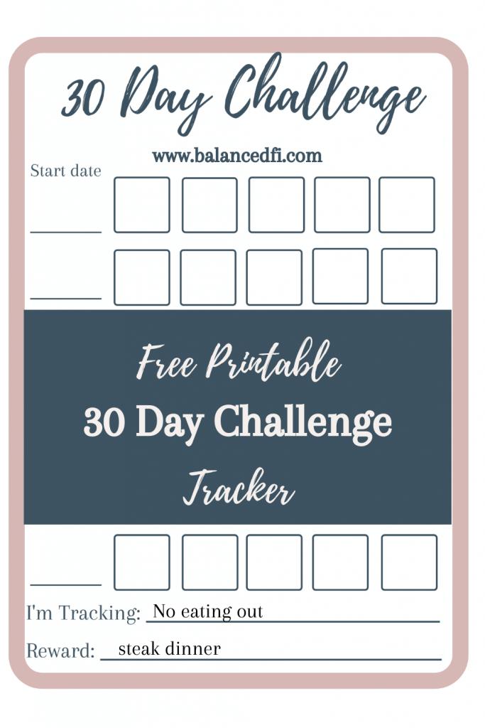 Free 30 Day Challenge Tracker - Balanced FI